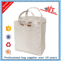 Wholesale 100% natural cotton tote bag with long handles, cotton wine bag for 6 bottles