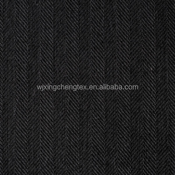 Black Wool Woven Polyester Herringbone/Herringbone Fabric For Coat