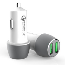 newest 2017 hot products Dual QC 3.0 usb car charge hub,2 ports QC3.0 mobile car charger