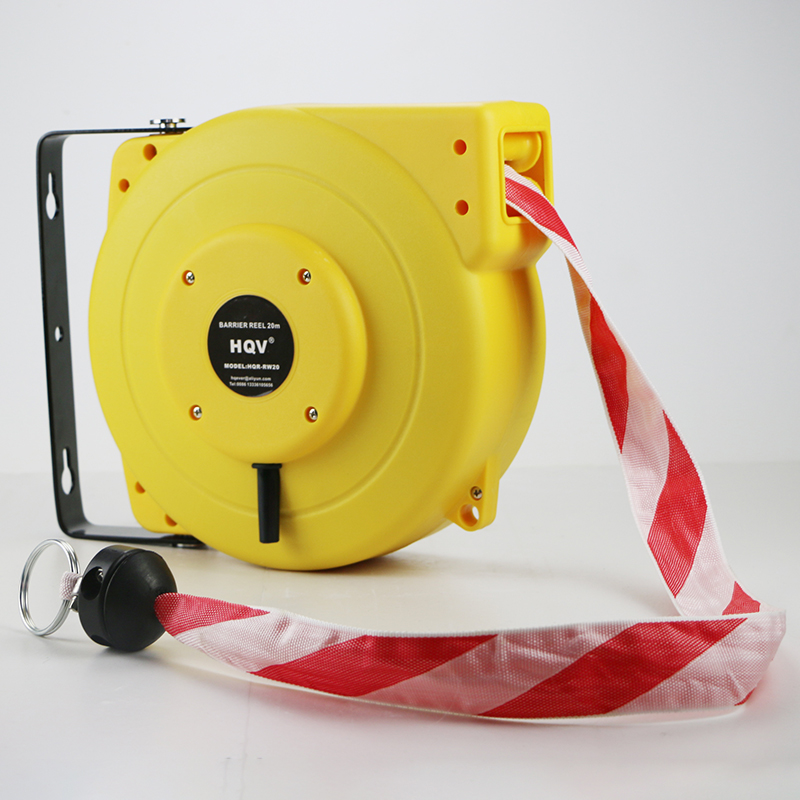 A18 20M heavy duty retractable barrier tape reel with spring loaded auto-rewind barrier reel