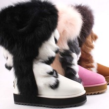 CF-077 Free Samples Beautiful Genuine Leather Racoon Fur And Rabbit Fur Wholesale Lady Boots, Winter Women Snow Boots Fashion