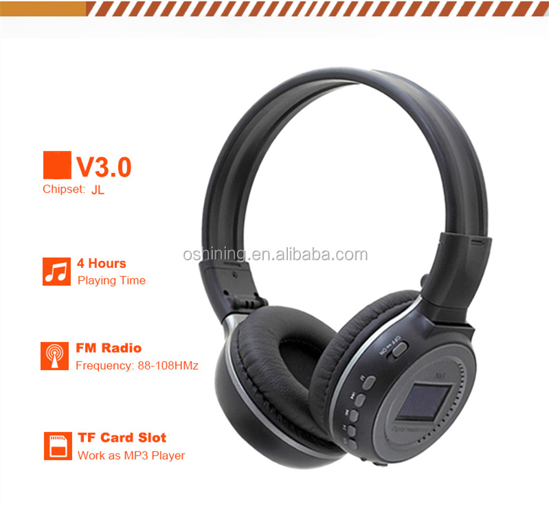 Hot selling wireless cordless headset with screen display FM radio MP3 wireless headphones OS-N65