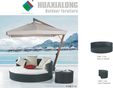 2015 hot sale Outdoor Garden rattan furniture with umbrella rattan chaise lounge/wicker sun lounger Item No FWB-110