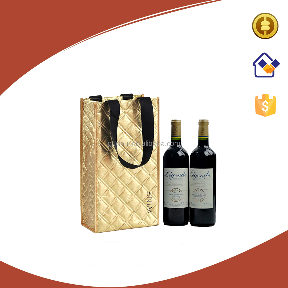 High quality lozenge grid style non woven fabric with laser film double wine carrier gift bag