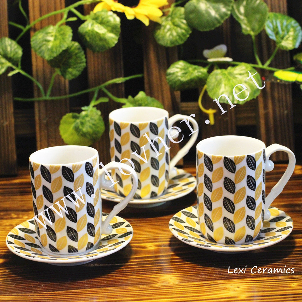 Modern porcelain mini ceramic espresso coffee cup and saucers 80cc Fashion 2016