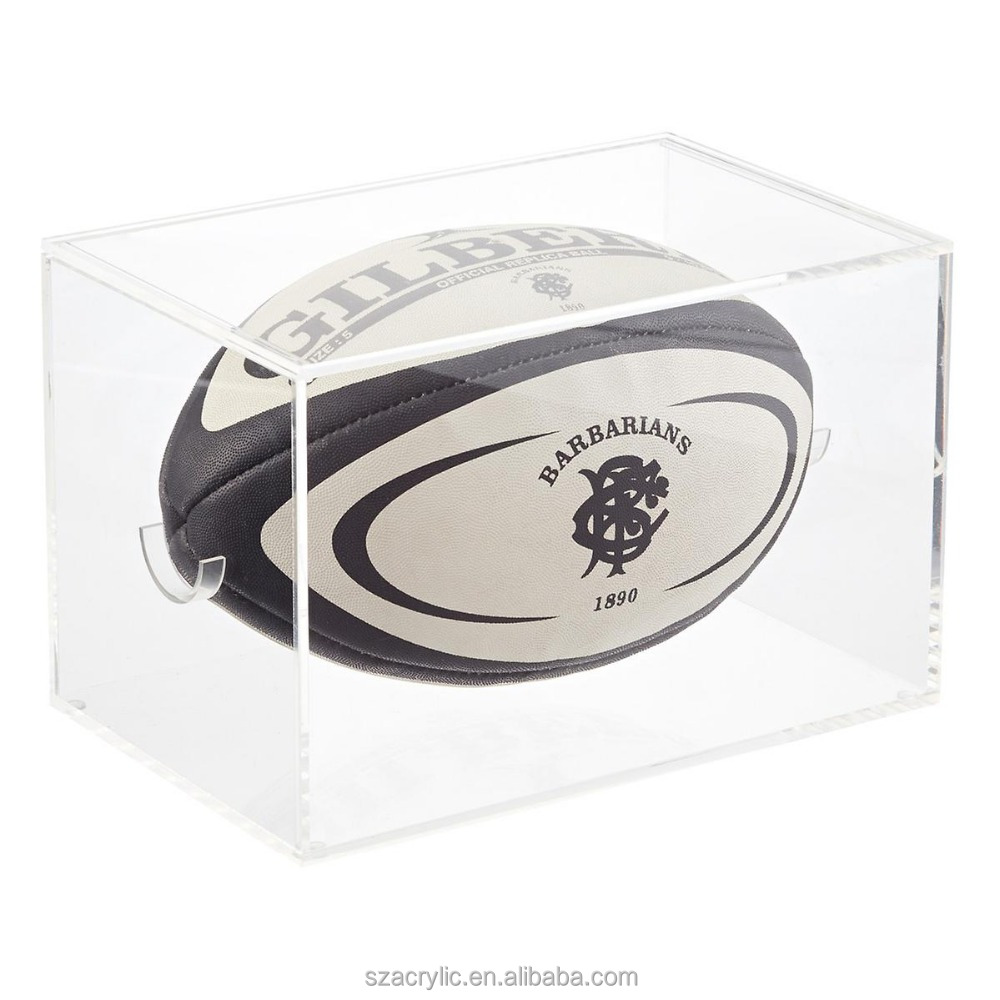 Acrylic rugby football display stand rugby football display box for shop