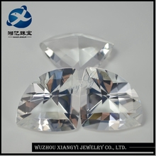 China wholesale glass gems Fan-shaped factory price of white opal stone white topaz stone price
