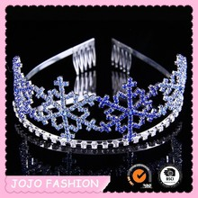 Blue diamante snowflake tiara for girls