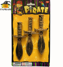 Party decorations golden mini plastic pirate toy dagger for kids