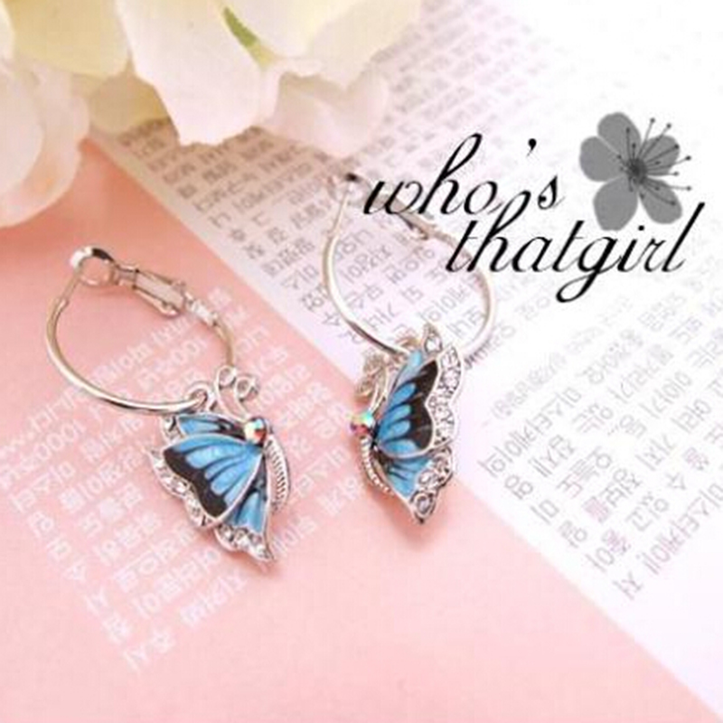 <strong>Fashion</strong> Elegant and Charming Korea Silver Plated Blue Crystal Flying Butterfly Hoop Earrings for Women Girls Jewelry