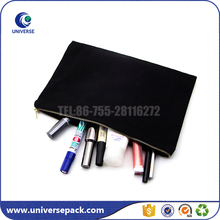 Durable Black Plain Canvas Cosmetic Bag With Metal Zipper