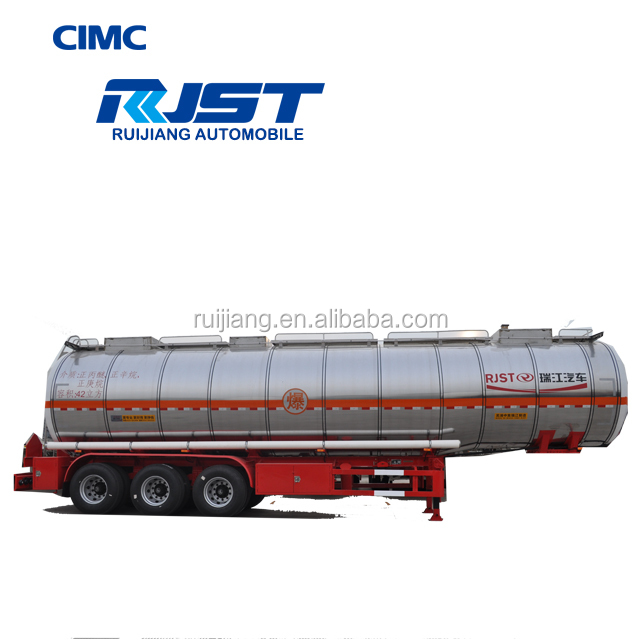 CIMC RJST tri-axle aluminum fuel tank trailer , 48 CBM fuel tank semi trailer for sale in Bangladesh