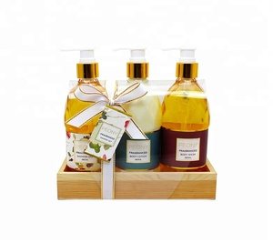 Luxury Wooden Tray Sulfate Free Shower Gel Body Lotion Bath Set Gift