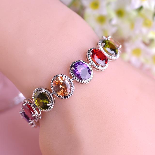 Blucome Mona Lisa Style Bracelets & Bangles CZ Zirconia Mix-color Beads Cooper Gold Plated Cuff Bracelet Jewelry