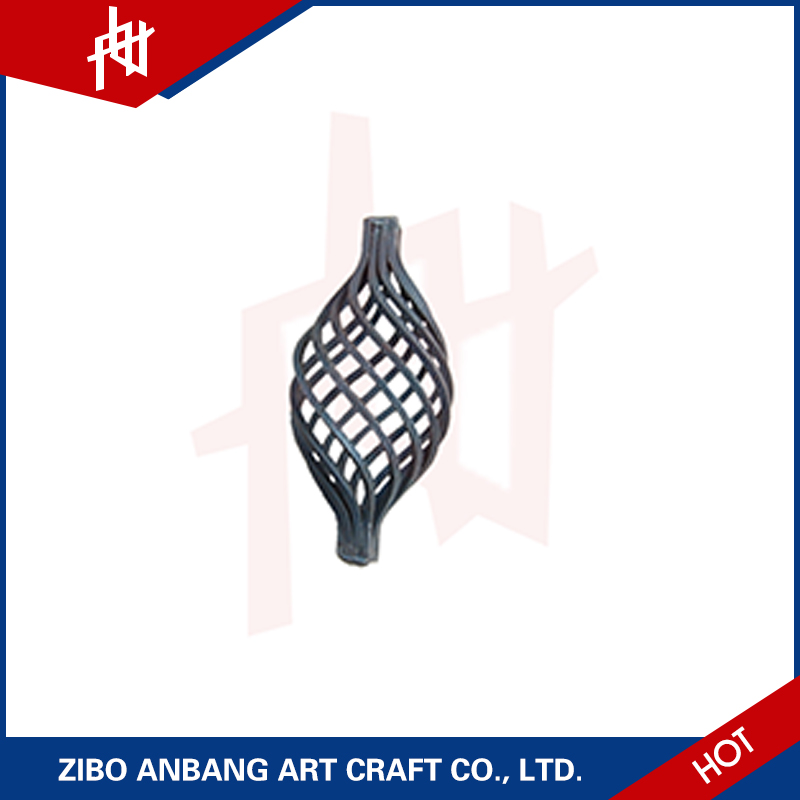 Metal wrought decorative twisting wrought iron basket for wrought gate cast fence ornaments