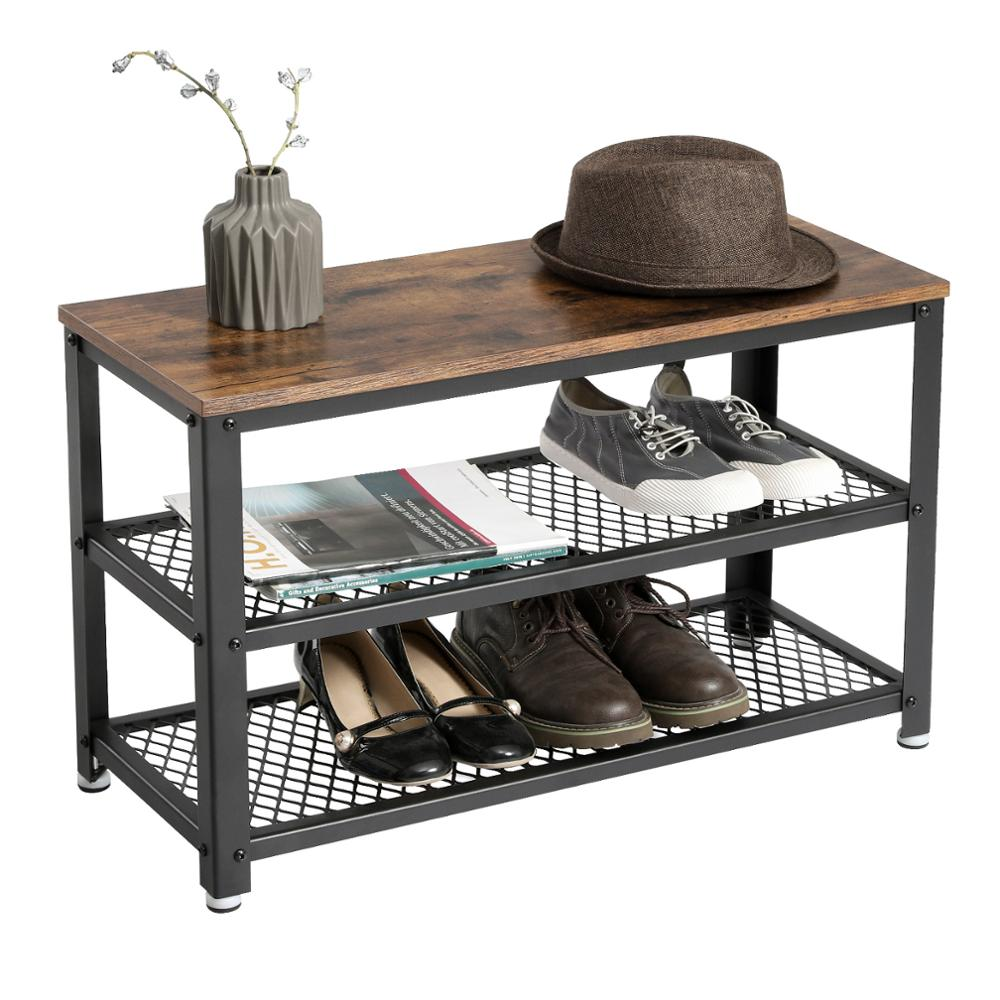 VASAGLE Metal Frame Industrial Vintage <strong>3</strong>-tier Shelf Storage Organizer wooden <strong>shoe</strong> rack Bench with Seat