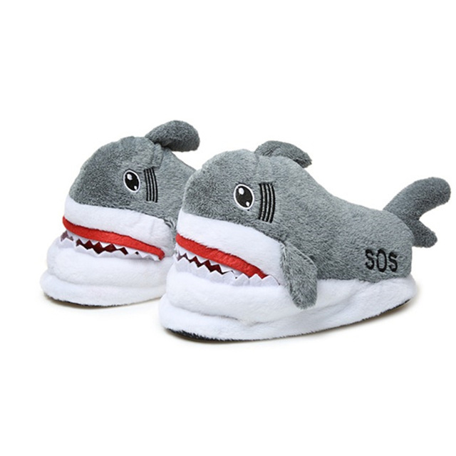 Free Shipping Average Size Fits 35-42 Warm Short Plush Animal Shark Women Home Indoor <strong>Slippers</strong>