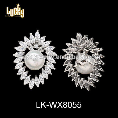 Jewelry manufacturer china bishop inlay pear lustrous silver fancy earrings studs wholesale in china