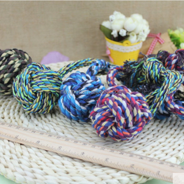 Direct factory newly design cotton knotted braided rope vinyl rope ball dog toy