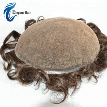 super fine swiss lace human hair toupee with bleach knots