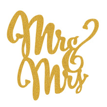 Wedding Birthday or Party Mr and Mrs in Dancing Art Font Design Paper Cake Topper