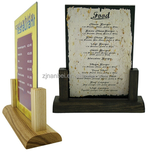 Custom logo wooden menu stand, small wood menu display rack