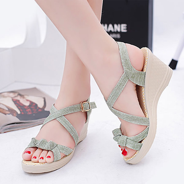 New thick sandy sandals female summer flat open toe high heel large size women 's shoes wholesale