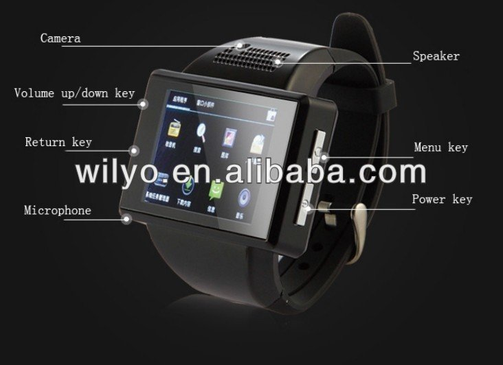 2014 New Watch Phone WZ1++ Android4.0+ MTK6577 Dual Core+ Quad Band 2.0 Inch Smart Watch Phone +Bluetooth +2.0Mp+WIFI
