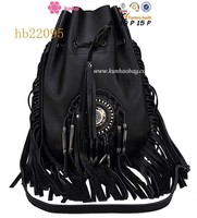 Exotic style drawstring bag with bangs
