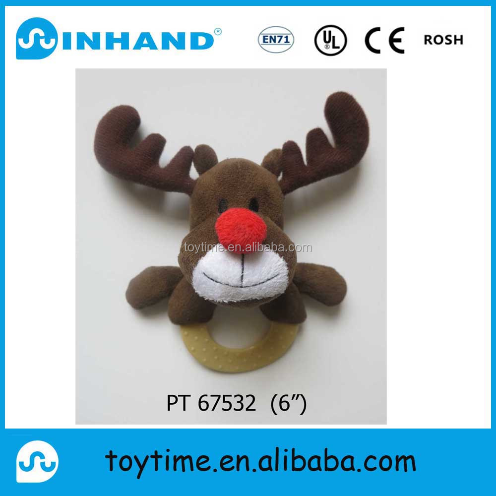 Sedex audit EN71Merry Christmas deer head with rope tug dog plush toys / pet toys for XMAS holiday