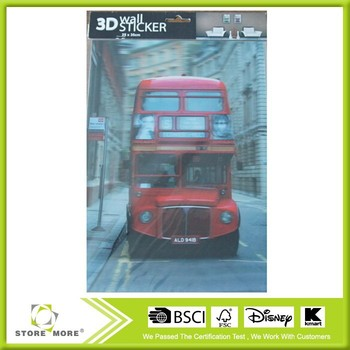 3D Wall Sticker Home Decor Red Bus