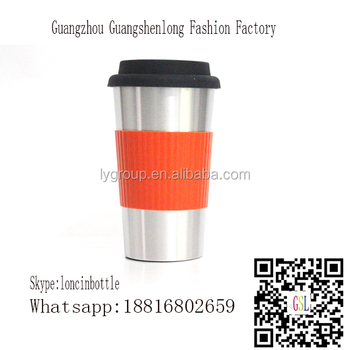 Hot Selling Stainless Steel Coffee Cups with Silicone Lids, Sleeves,16oz Double Wall Insulated with Leak Proof Silicone Lid