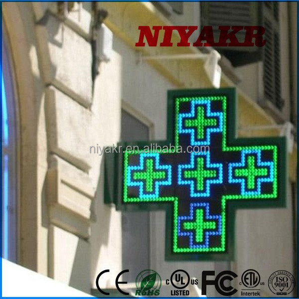 Niyakr Ip65 3D Led Cross Display By Wifi Control/3D High Quality Led Pharmacy Cross/Slim Curved Shape Frame