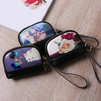Wholesale Genuine Leather Zipper Coin Purse Painted Wallet