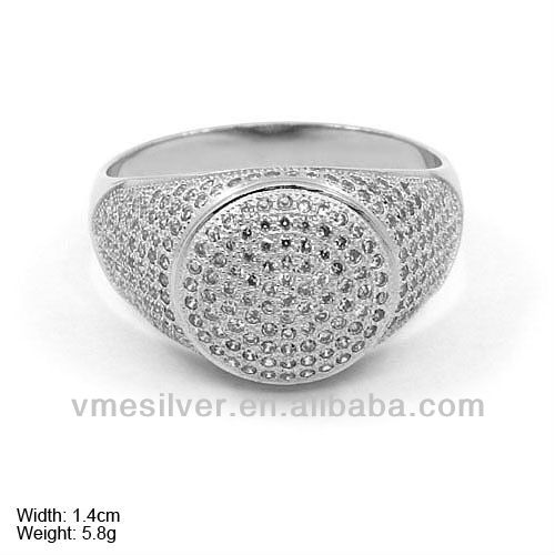RzQ-0118 925 Silver Ring Bali Poison Ring with cz stone