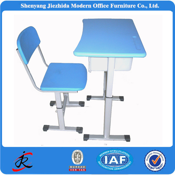 Modern Single Classroom Teen Reading Table Single Plastic Height Adjustable School Desk and Chair Seat for Student