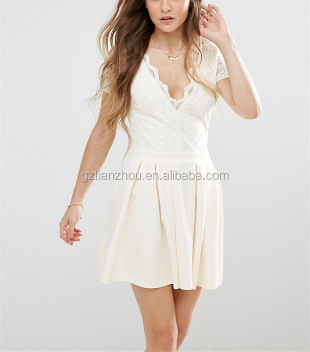 Hot Selling White Sexy Deep V-Neck Dress Sheer Lace Back Skater Dress With Lace Body And Scuba Skirt