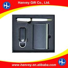 New giveaway gift item includes metal pen and card holder with USB as wedding gift set