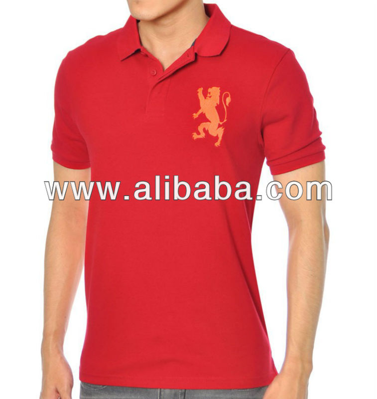 Men's Embroidered Short Sleeve Pique Polo T-shirt
