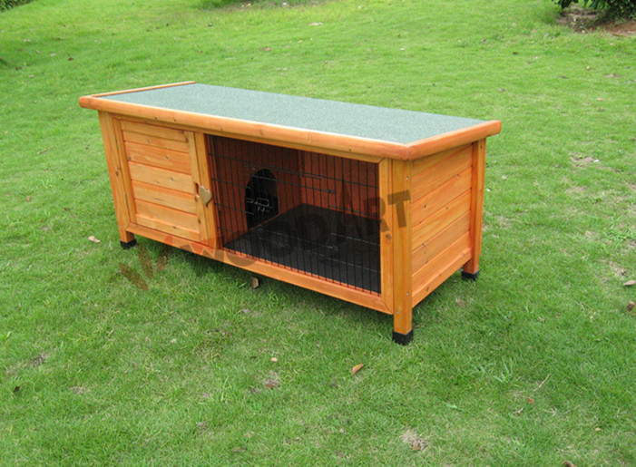 Flat roofed rectangle waterproof rabbit hutch