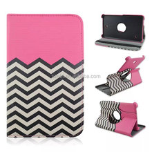 Wave printing PU leather case, 360 degree rotation flip stand case for Samsung T230