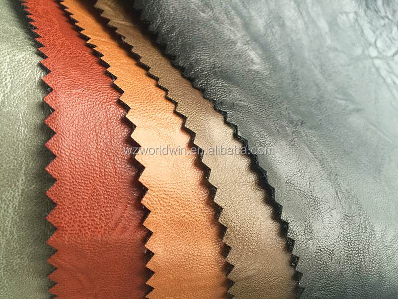 Two Tone Embossing leather cloth fabric PU Garment leather
