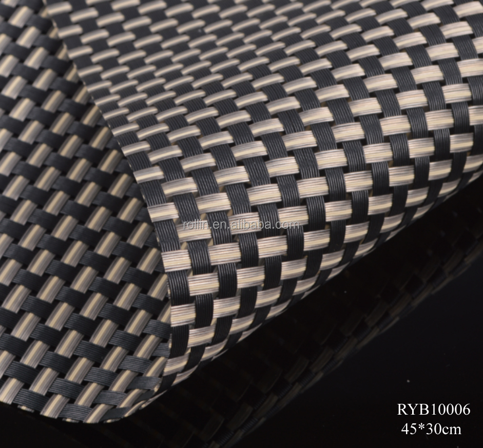 High quality fashion decoration food grade test heat resistant pvc fabric woven table placemat