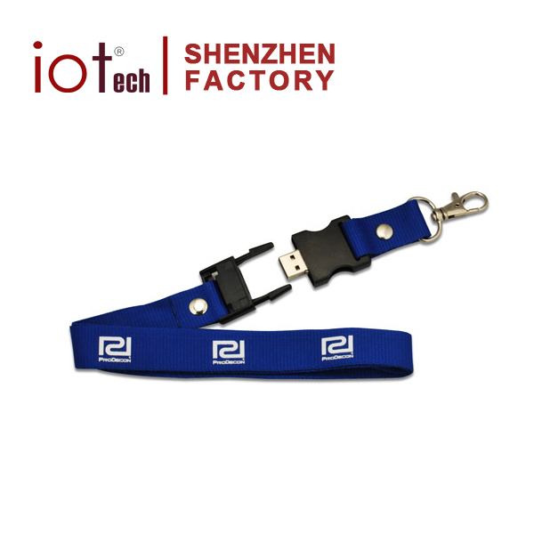 Promotional Lanyard Neck Strap Usb Flash Drive Metal Memory Stick with Logo