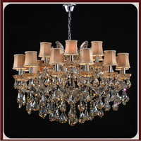 antique modern designe orange color fabric shade with chrome color finished chandelier pendant crystal for home decoration