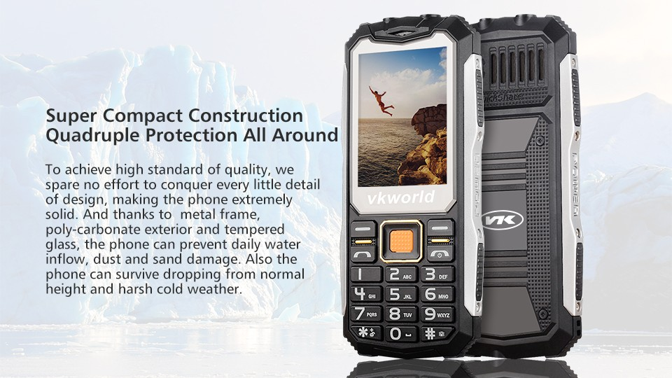 Excellent 2G Mobile Phone VKWORLD Stone V3S With Physical Keyboard Waterproof 2200mAh Dual TorchDual SIM IP54 2.4inch Cell Phone