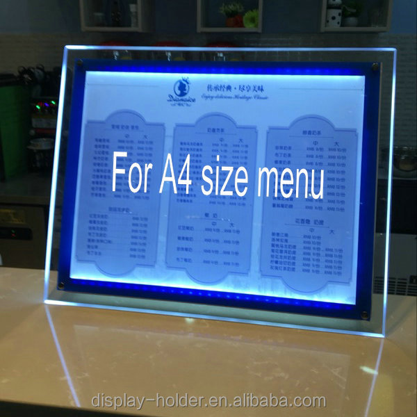 Custom Acrylic led light menu holder display stand on tabletop