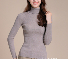 handmade rib stretch fitting turtleneck cheap unique grey cashmere sweater