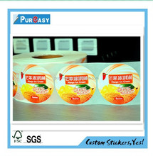 High quality food package label printing with free sample