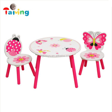 2017 Butterfly design wood children Child kid study desk and chair pink